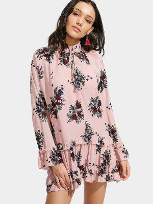 Floral Print Ruffle Hem Dress - Pink M