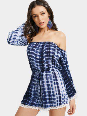 Off Shoulder Lace Trim Tie Dye Romper - Blue - Blue Xl