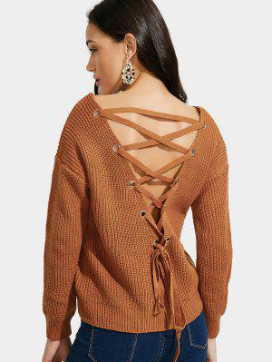Back Lace Up V Neck Pullover Sweater - Brown - Brown