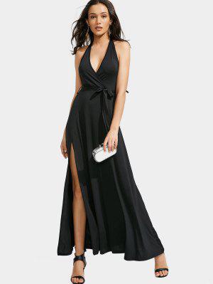 Halter Slit Backless Maxi Dress - Black - Black Xl