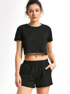Pantalones Deportivos Y Pantalones Cortos De Algodón - Negro L