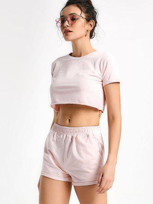 Pantalones Deportivos Y Pantalones Cortos De Algodón - Rosa - Rosa L