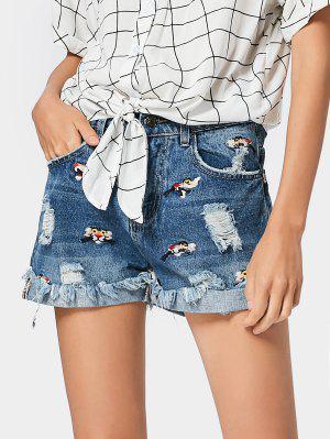 Destroyed Embroidered Cutoffs Denim Shorts - Denim Blue - Denim Blue S
