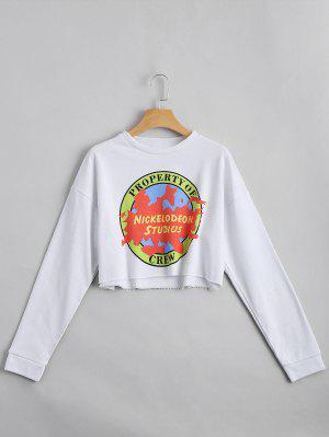 Drop Shoulder Letter Print Crop Sweatshirt - White L