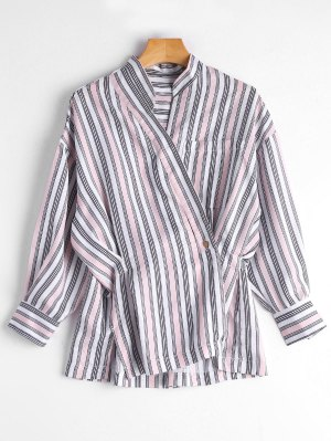Asymmetric Button Striped Blouse - Pink