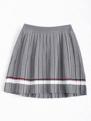High Waist Striped Pleated Skirt - Gray - Gray