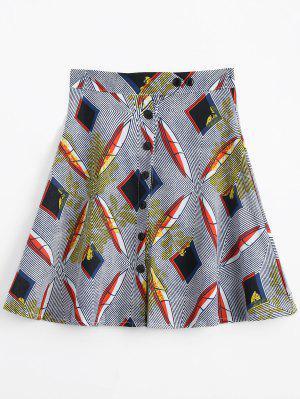 Button Up High Waist Printed Skirt - Multi L