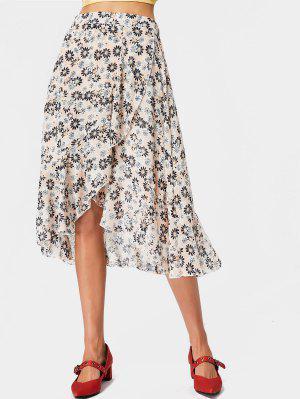 Floral Ruffles Chiffon Asymmetrical Skirt - Pink - Pink