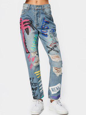 Destroyed Letter Graphic Tapered Jeans - Denim Blue - Denim Blue S