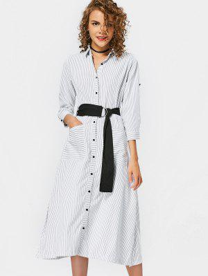 Bleted Casual Stripes Shirt Dress - Stripe L