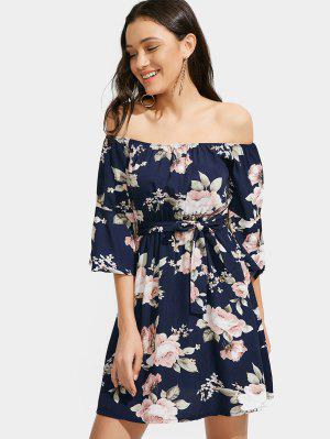 Floral Off Shoulder Belted Dress - Purplish Blue S