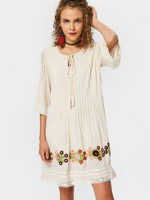Lace Trim Tassels Embroidered Mini Dress - Palomino - Palomino S