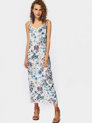 Gathered Floral Slip Maxi Dress - Floral - Floral S