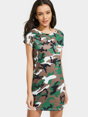 Round Collar Camouflage Shift Dress - Coffee - Coffee S
