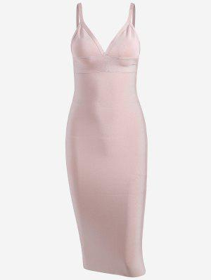 Zippered Cami Fitted Dress - Pink - Pink S