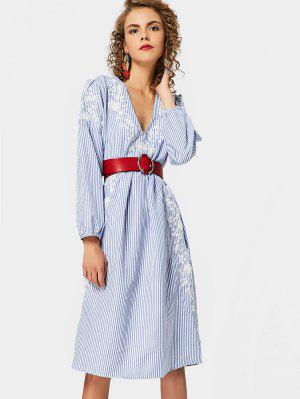 Long Sleeve Embroidered Stripes Shift Dress - Stripe M