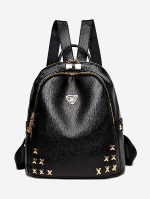 Textured Leather Metal Embellished Backpack