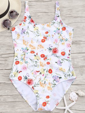 Floral Low Back One Piece Swimwear - White S