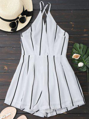 Striped Lined Criss Cross Romper - White M