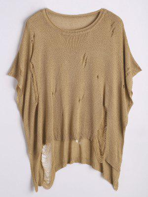 Ripped Oversized High Low Sweater - Khaki