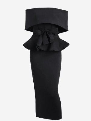 Ruffles Belted Top And Slit Skirt Set - Black S
