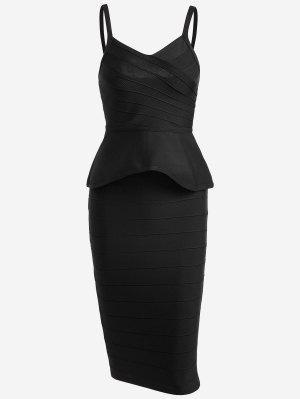 Flounce Cami Top And Bandage Skirt Set - Black - Black L