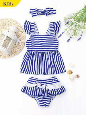 Tiered Striped Kid Skirted Tankini Set - Blue And White 7t