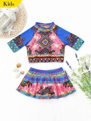 Kid Printed Swim Top With Skirted Bottoms - 8t