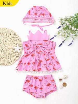 Bowknot Flamingo Crown Skirted Tankini Set - Pink 6t
