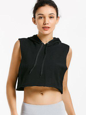 Dropped Armhole Hooded Sports Top - Black
