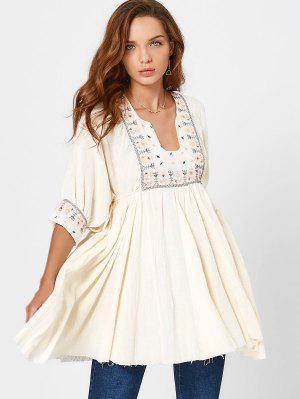 Notched Collar Patterned Mini Dress - Beige M