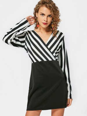 Long Sleeve Stripes Panel Bodycon Dress - White And Black - White And Black Xl