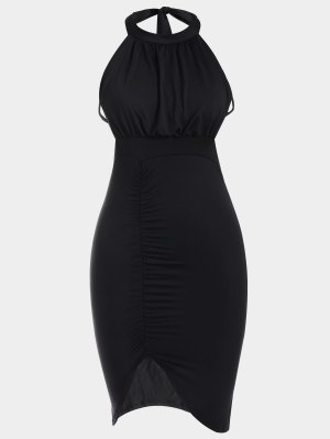 Backless Ruched Slit Bodycon Club Dress - Black L