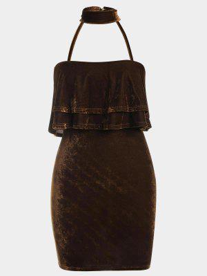 Tiered Bodycon Velvet Choker Dress - Coffee - Coffee S
