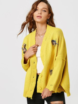 Bird Embroidered Drop Shoulder Cardigan - Yellow