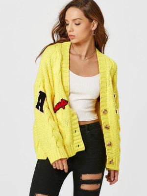 Patchwork Button Up Cable Knit Cardigan - Yellow
