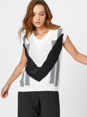 Contrast V Neck Cap Sleeve Sweater - White
