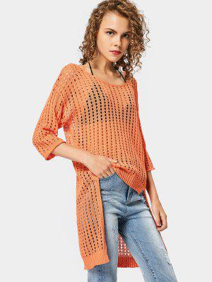 Cut Out High Low Sweater - Orangepink