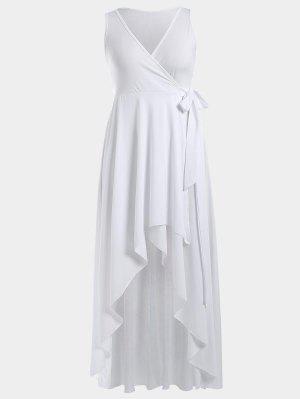 High Low Plunge Wrap Maxi Semi Prom Dress - White - White Xl