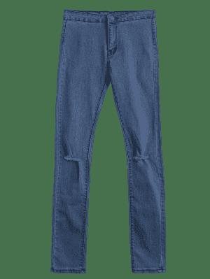 High Waist Ripped Jeans - Denim Blue - Denim Blue M