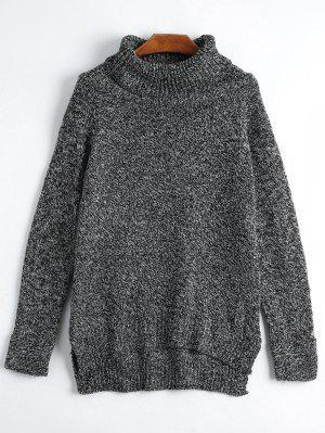 Turtleneck Side Slit Sweater - Black