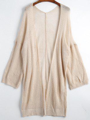Drop Shoulder Open Front Plain Cardigan - Apricot