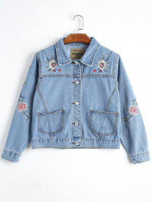 Button Up Floral Embroidery Denim Jacket - Denim Blue S