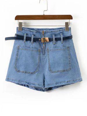 Pantalones Cortos De Cinturón Con Cinturón Alto - Denim Blue S