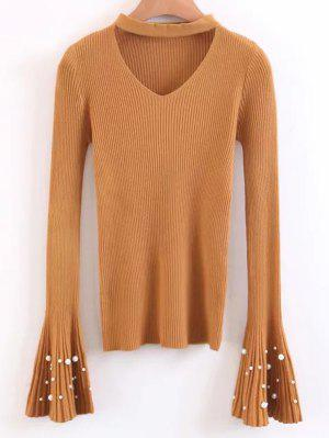 Flare Sleeve Faux Pearl Choker Sweater - Yellow - Yellow