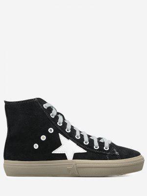 Zipper Eyelets Color Block Athletic Shoes - Black - Black 39