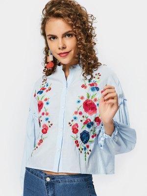 Loose Floral Embroidered Ruffles Shirt - Light Blue - Light Blue L