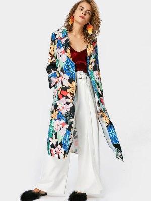 Side Slit Floral Trench Coat - Floral L