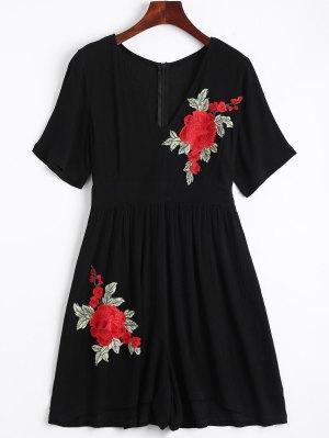 Flower Applique Cover-up Romper - Black - Black S