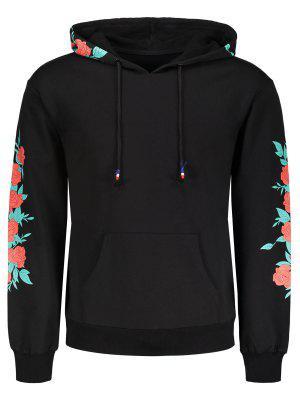 Sudadera Con Capucha De Impresión Floral - Negro - Negro 2xl